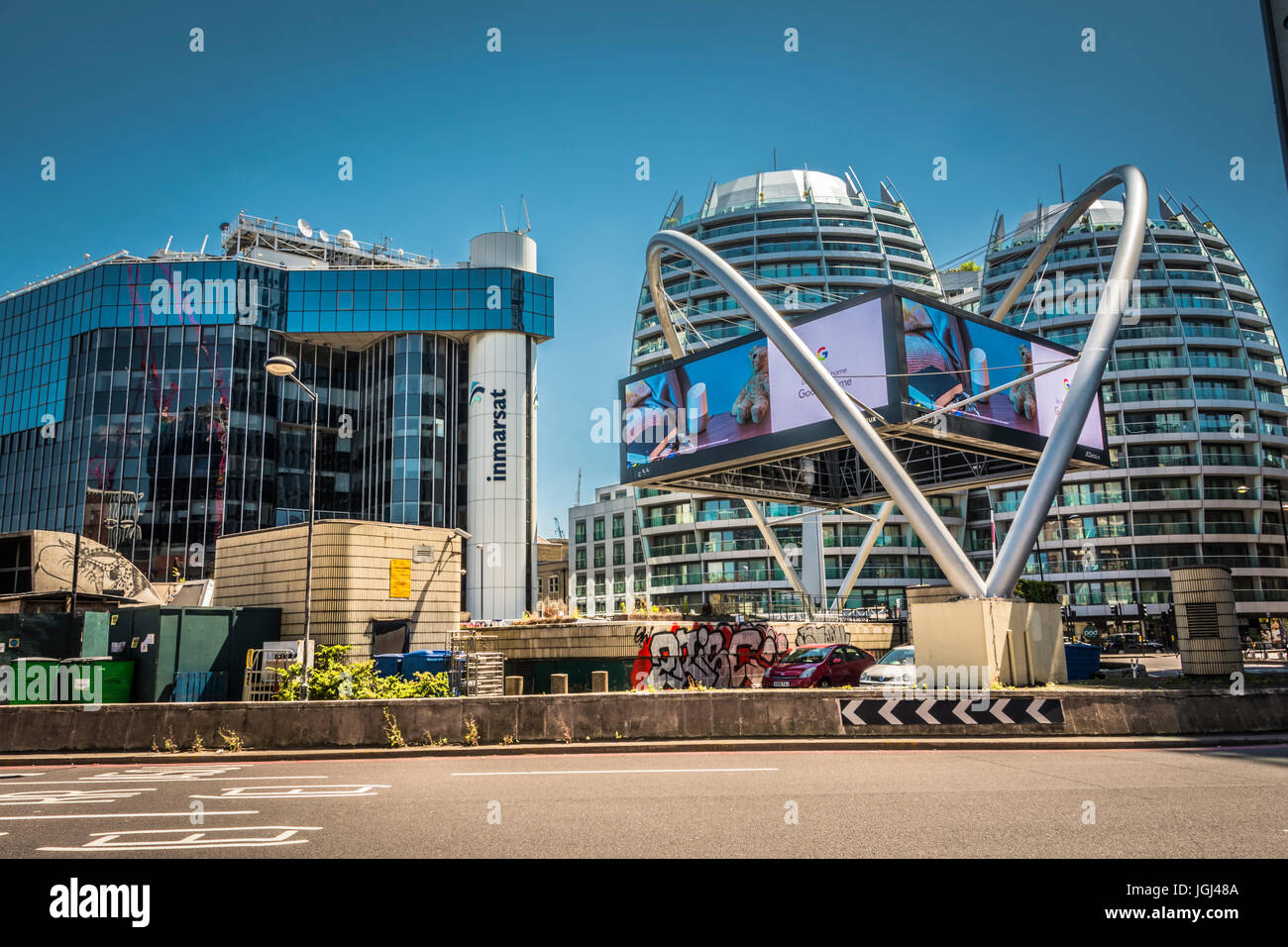 Inmarsat offices on Old Street Roundabout, aka Silicon Roundabout, London, England, U.K. Stock Photo