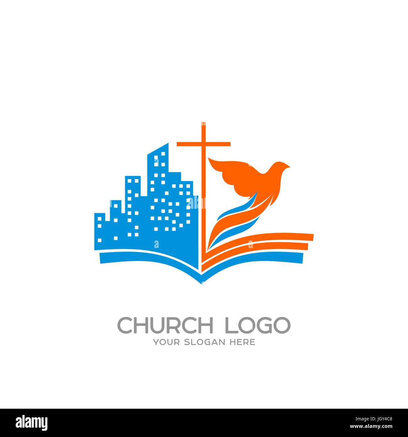 Church logo christian symbols the open bible the cross of jesus church logo christian symbols the open bible the cross of jesus the city and the dove altavistaventures Images