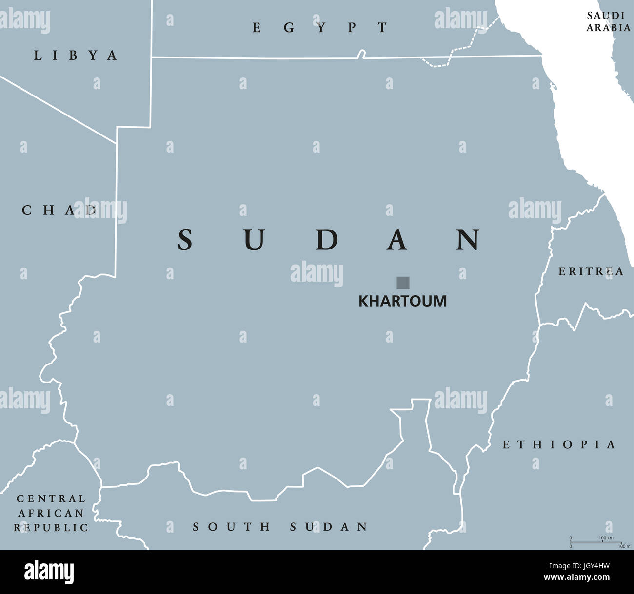 Sudan political map with capital Khartoum and national borders