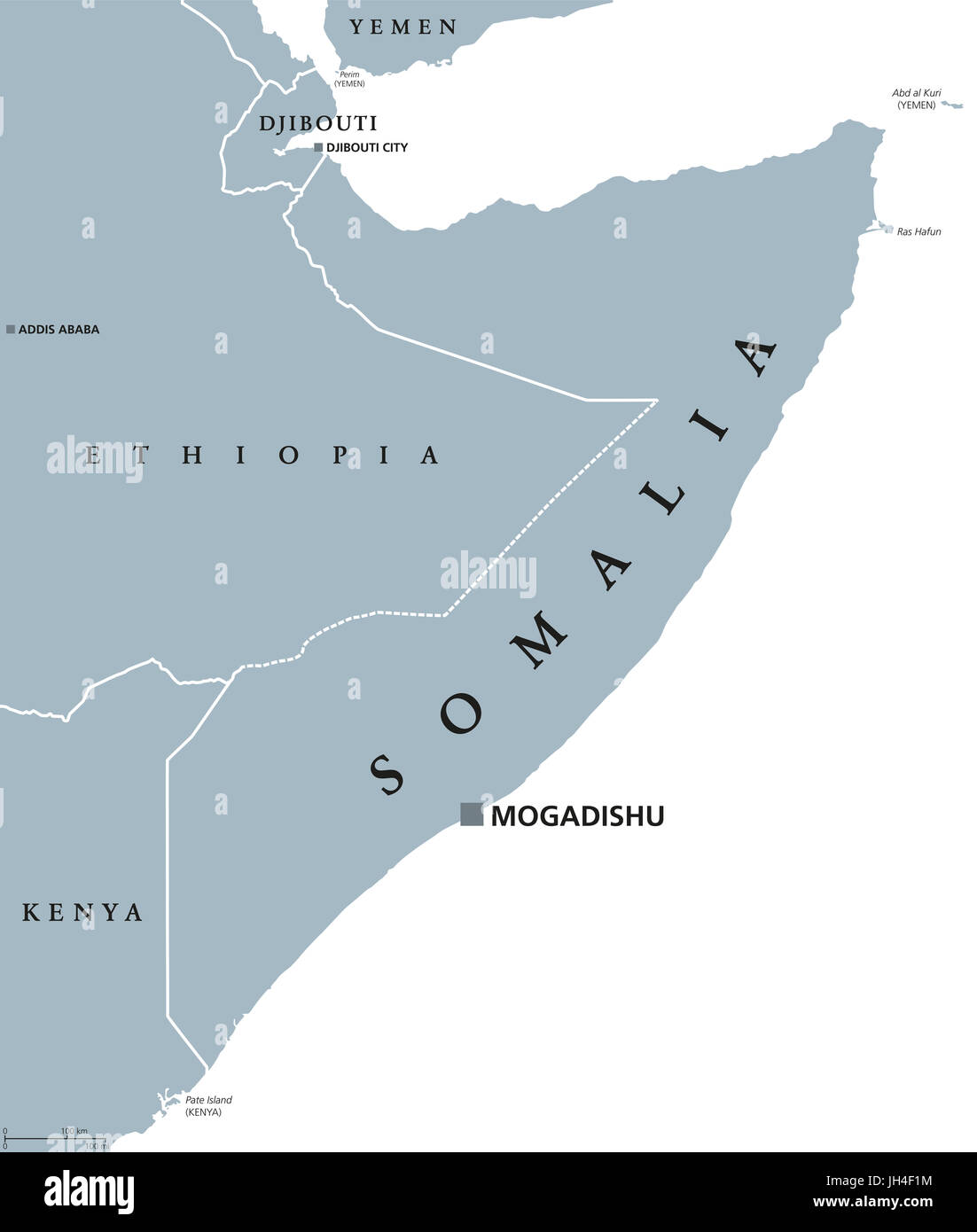 Somalia political map with capital Mogadishu Federal republic and