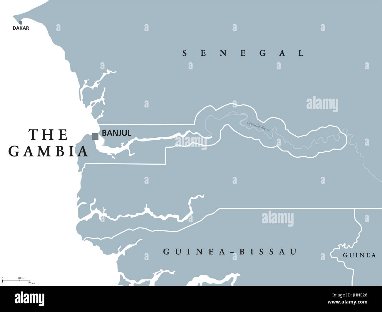 The Gambia political map with capital Banjul Republic and country