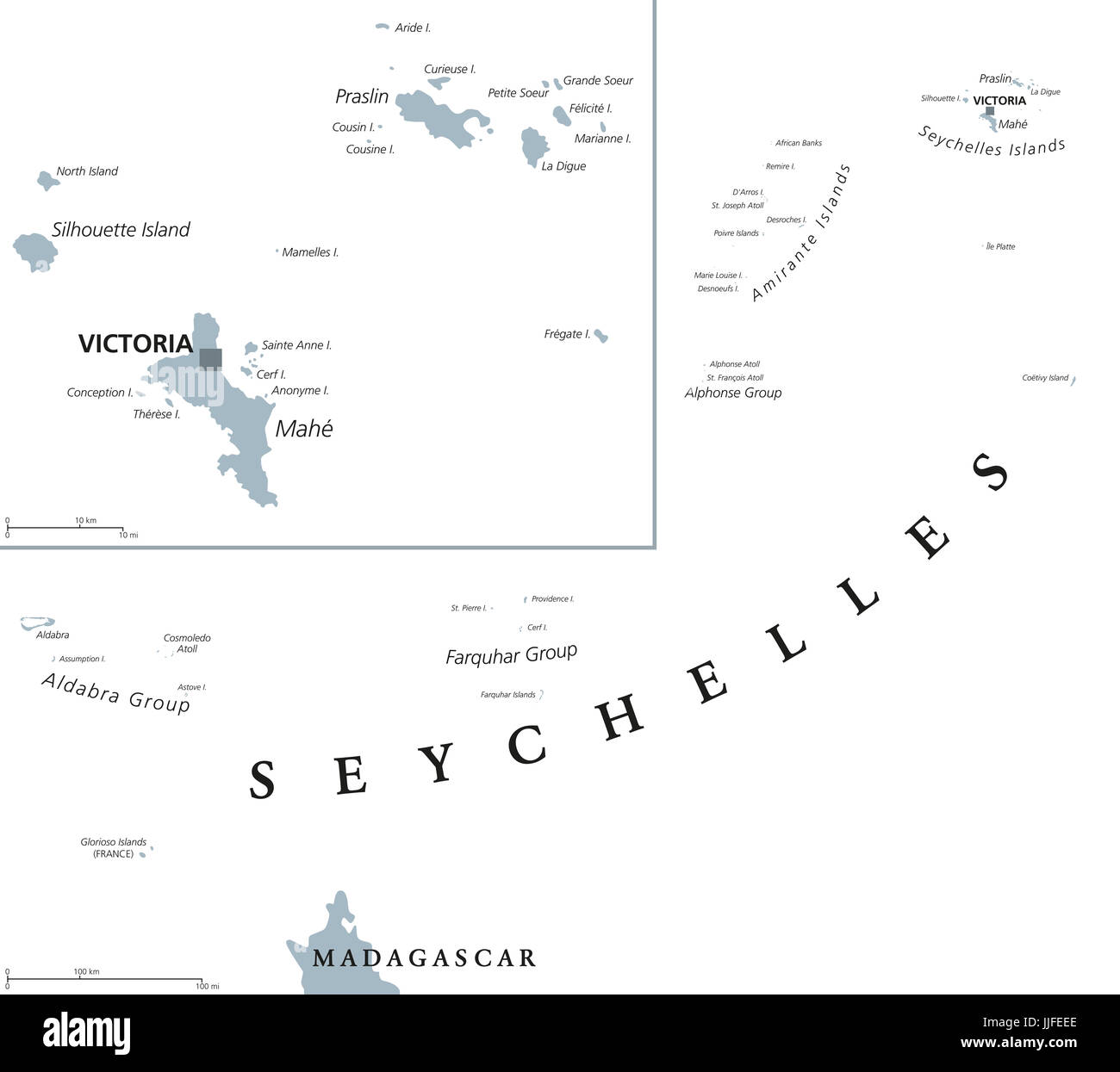 Seychelles political map with capital Victoria on the main island