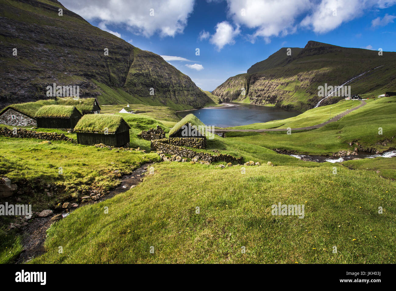 Village of Saksun located on the island of Streymoy, Faroe Islands, Denmark. Stock Photo