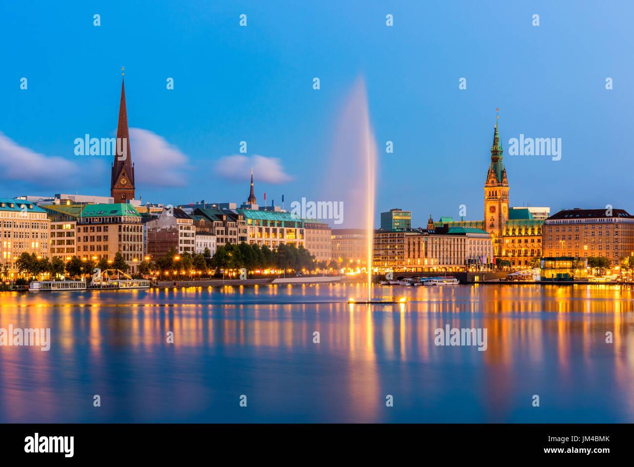 Hamburg Germany Skyline at dusk - Stock Image