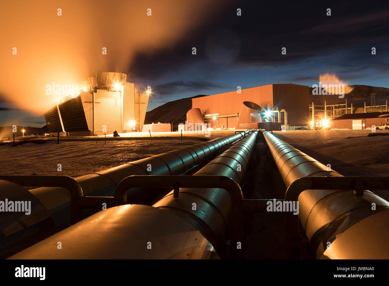 Krafla Geo-Thermal Power Plant, Iceland - Stock Image