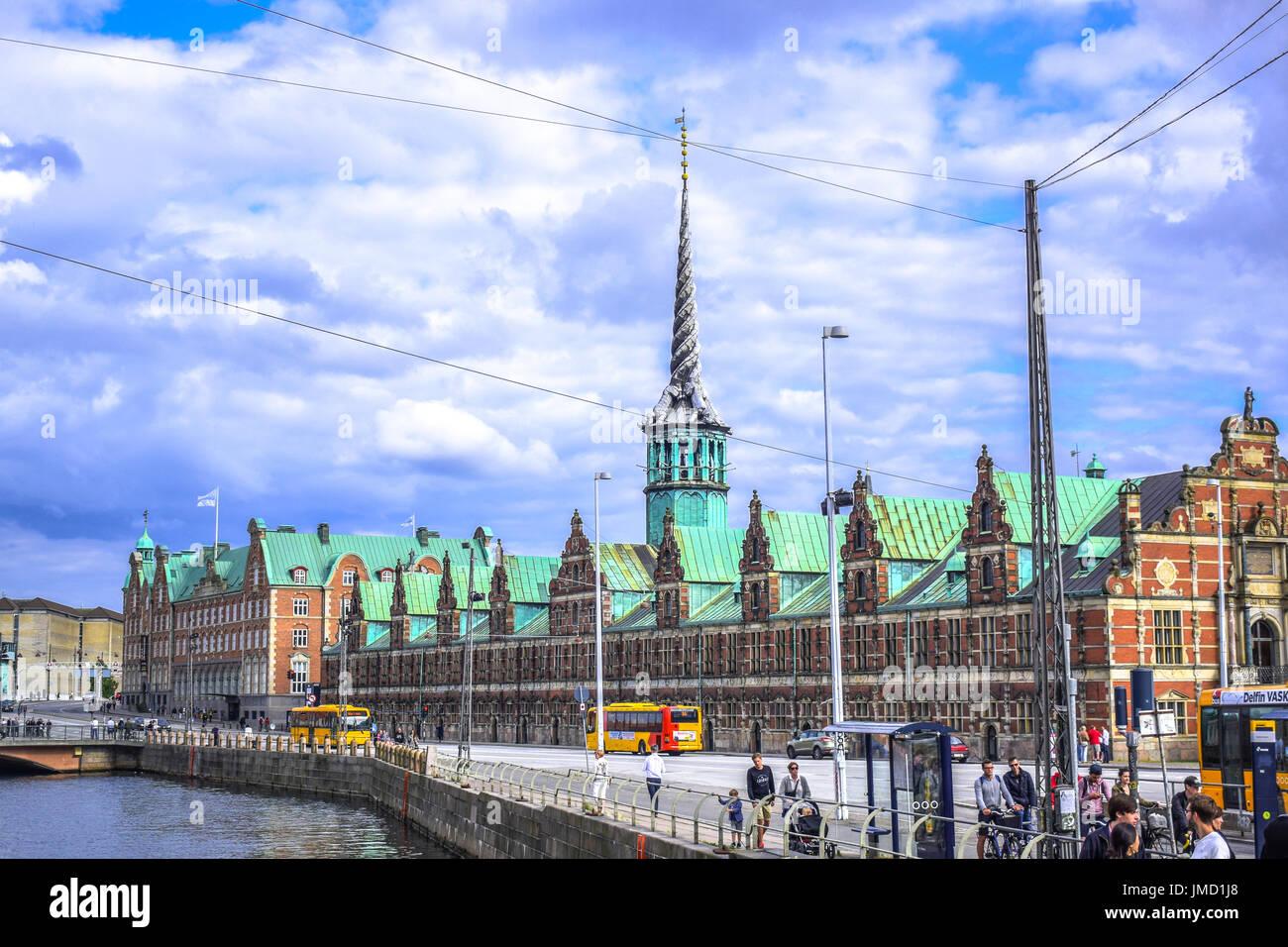COPENHAGEN, DENMARK - JULY 20: Borsen, The Stock Exchange built in 17th century located in the center of Copenhagen - Stock Image