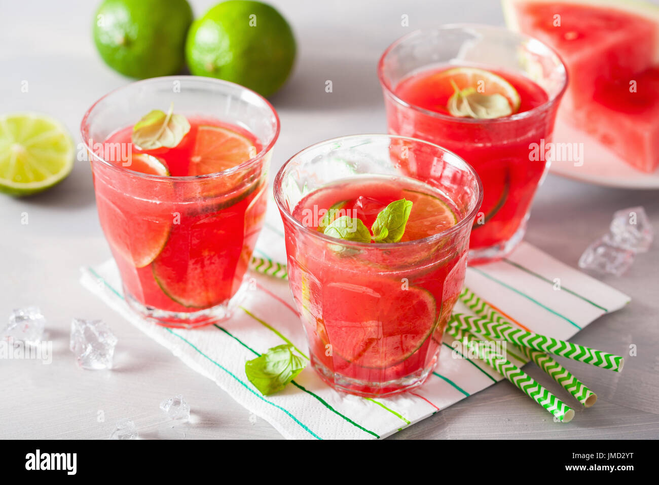 watermelon lemonade with lime and mint, summer refreshing drink - Stock Image