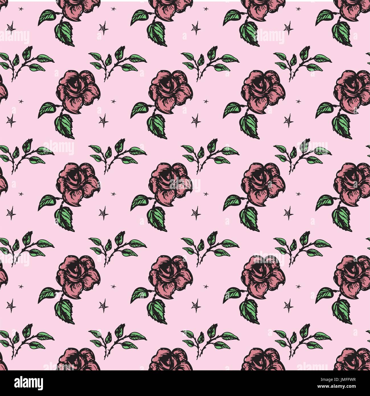 Seamless pattern  roses. Seamless pattern can be used for wallpaper, pattern fills, web page backgrounds, surface - Stock Image