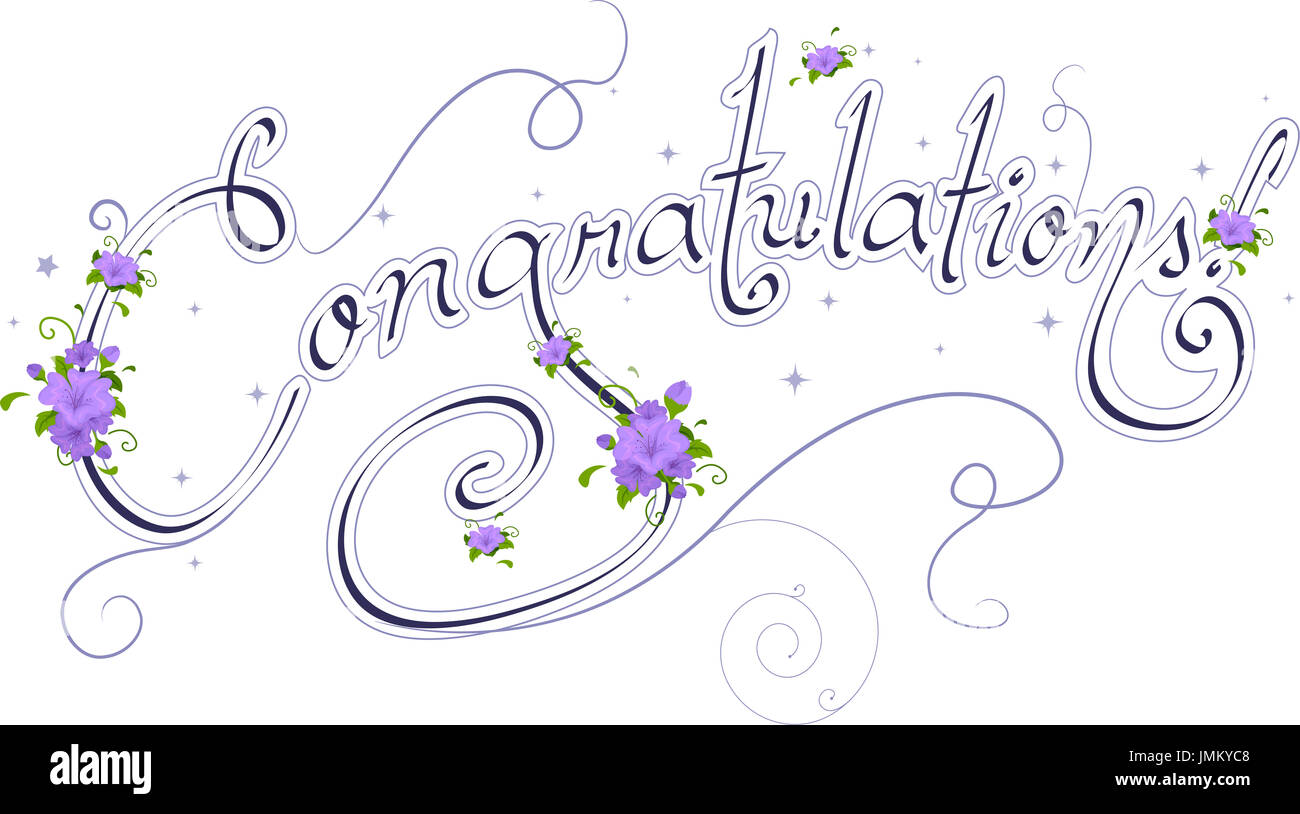 wedding text featuring the word congratulations stock photo