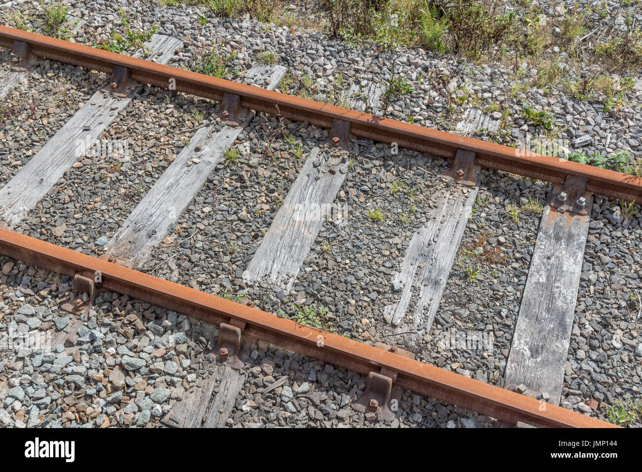 Small section of railway / railroad track - metaphor for 'end of the line', rail transport, and general - Stock Image