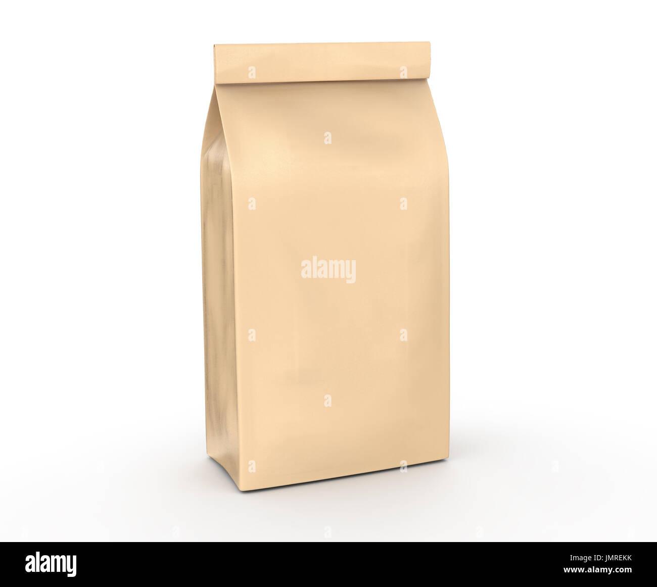 coffee bean package mockup blank craft paper bag template in 3d