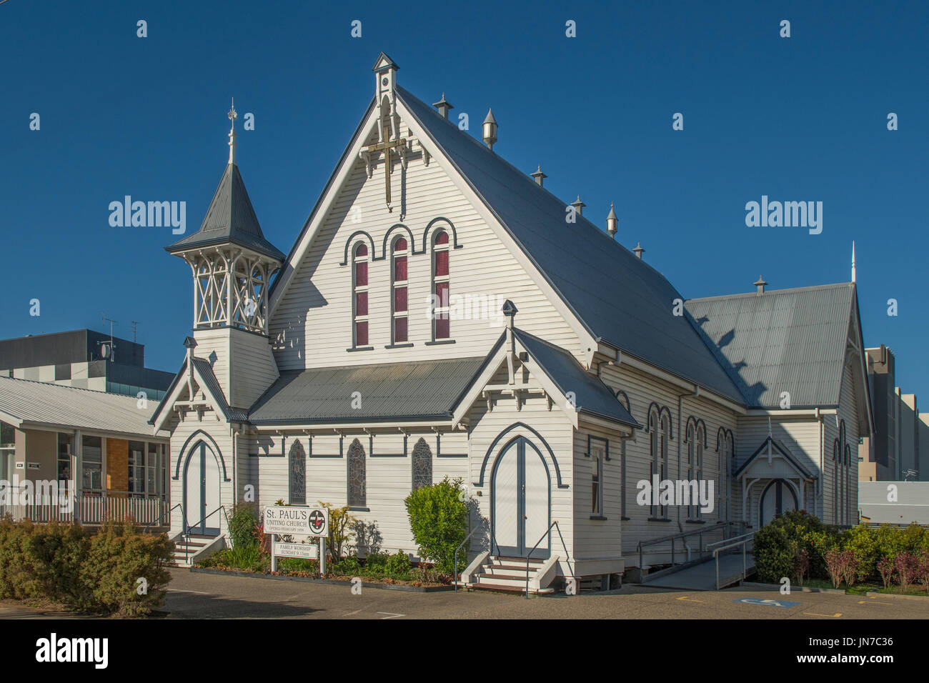Art Deco St Paul's Uniting Church, Mackay, Queensland, Australia - Stock Image