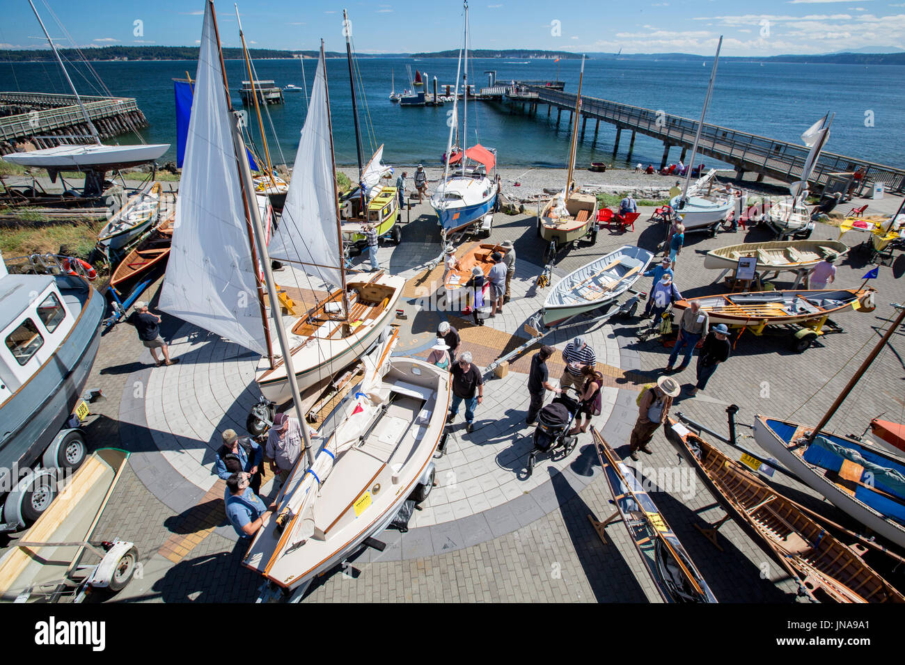 Port Townsend Pocket Yacht Palooza boat show at the Northwest Maritime Center. - Stock Image