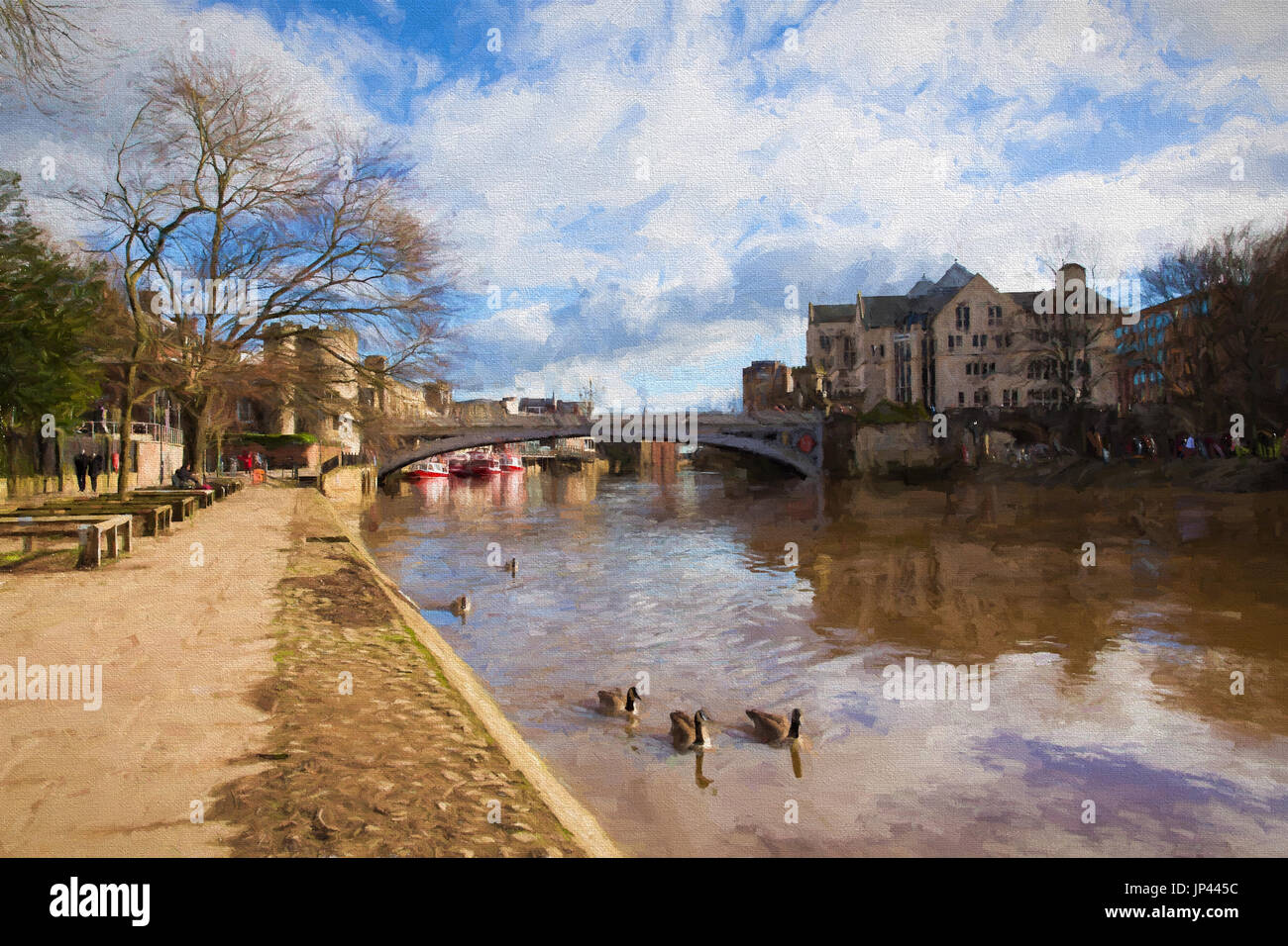 York England the Lendal bridge in the historic Yorkshire city in station road illustration like oil painting - Stock Image