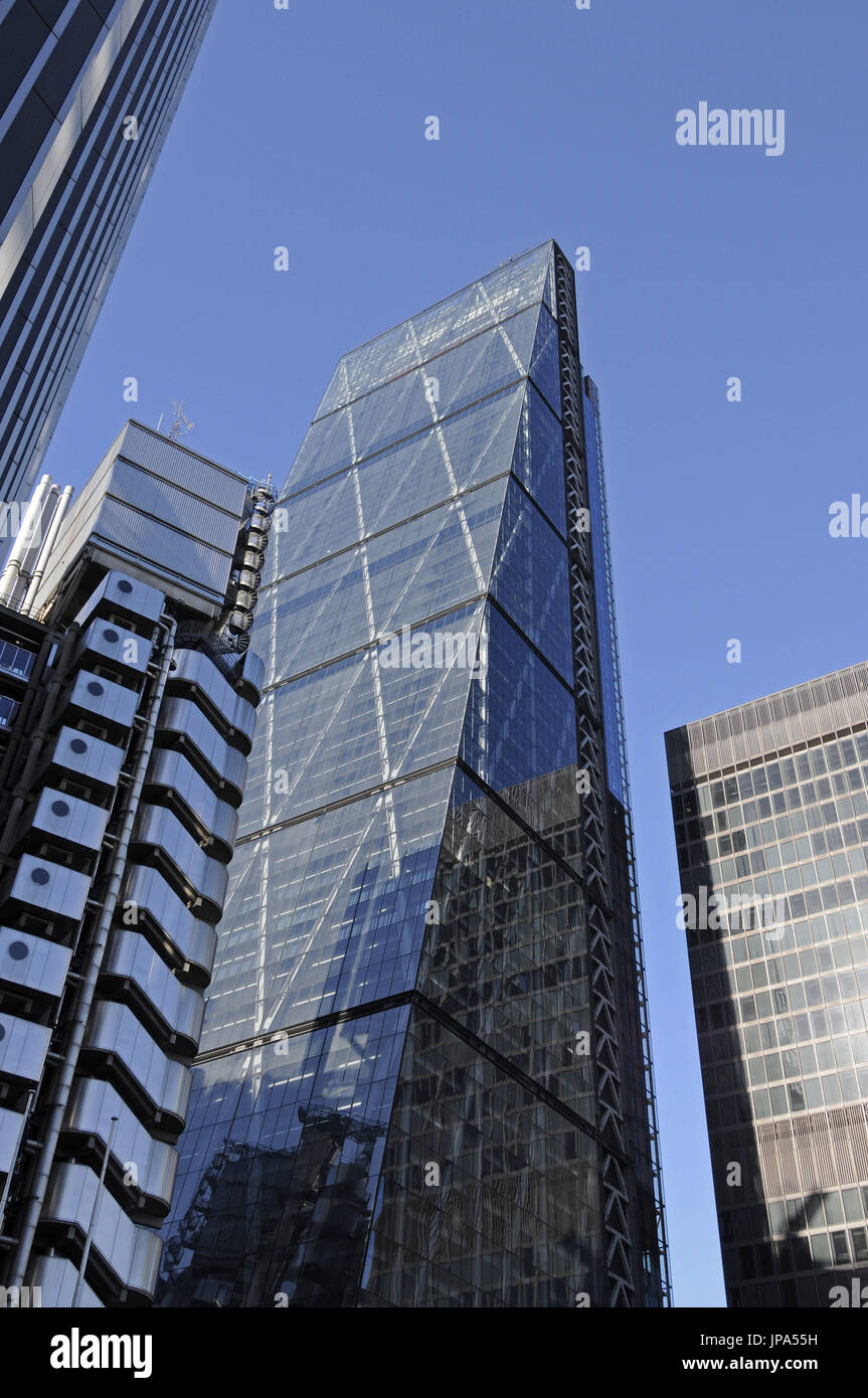 The Modern skyline of the City of London with The Cheesegrater and Lloyds of London Buildings London England - Stock Image