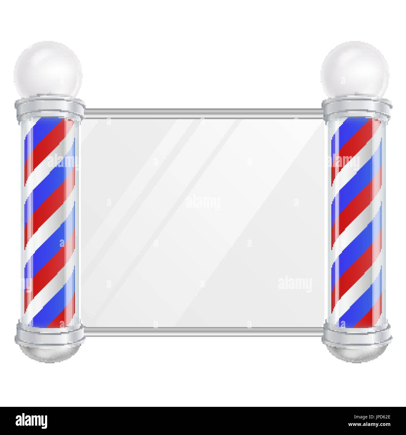 Barber Shop Pole Vector Old Fashioned Vintage Silver And Glass Red Blue White Stripes Isolated