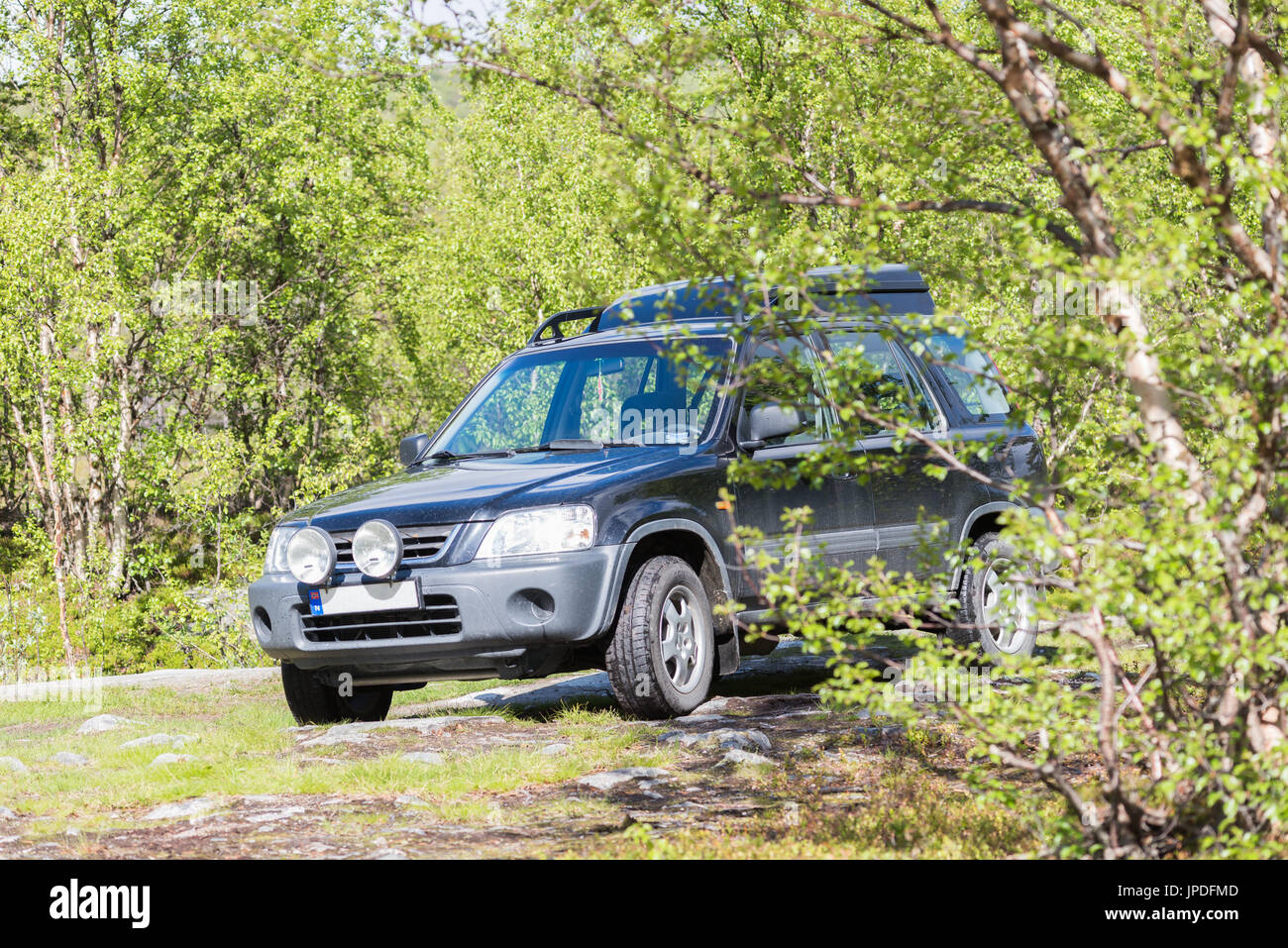 Honda crv parked offroad - Stock Image