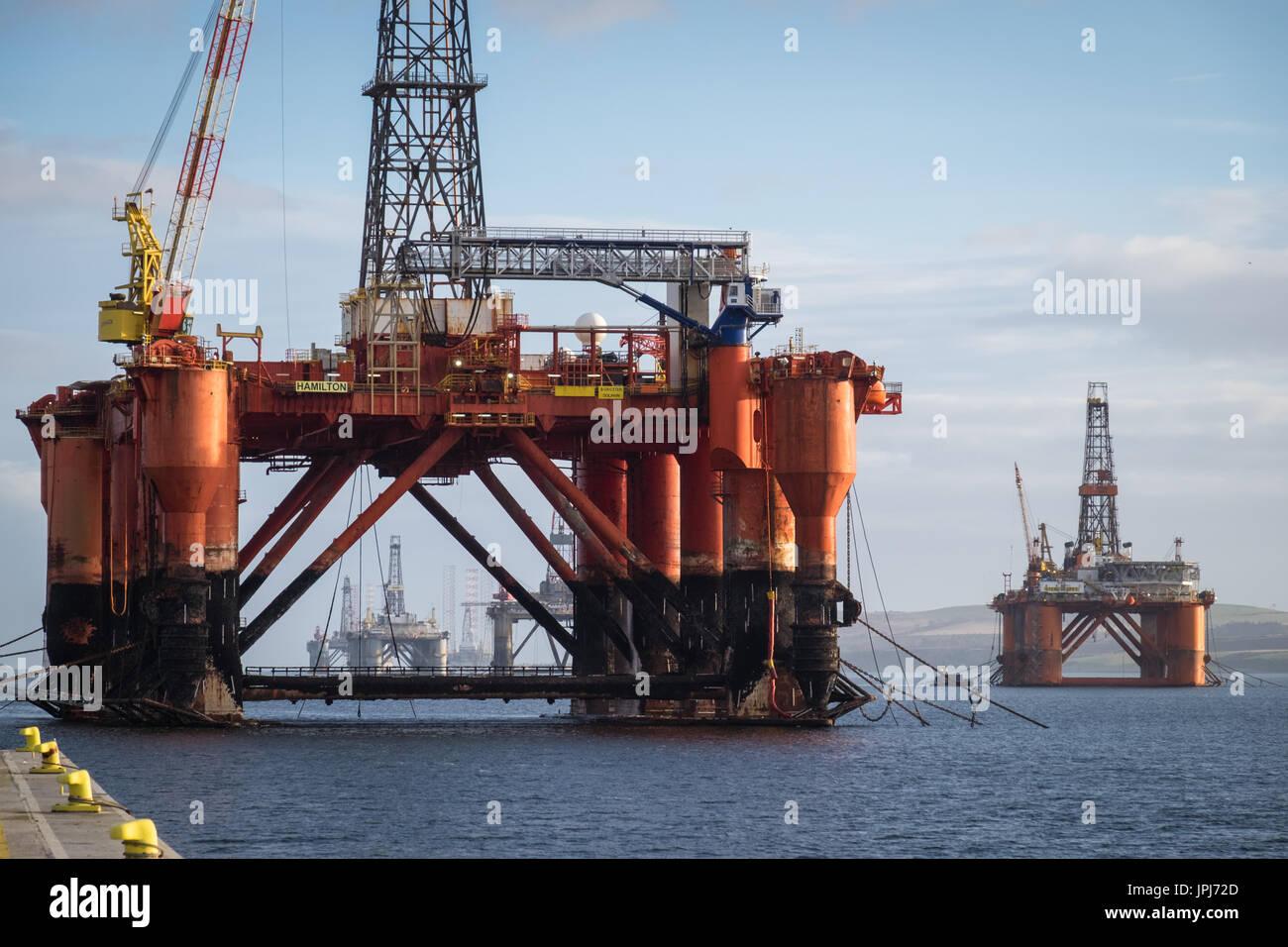 The drilling platform, Borgsten Dolphin, moored in the Scottish port of Invergordon - Stock Image