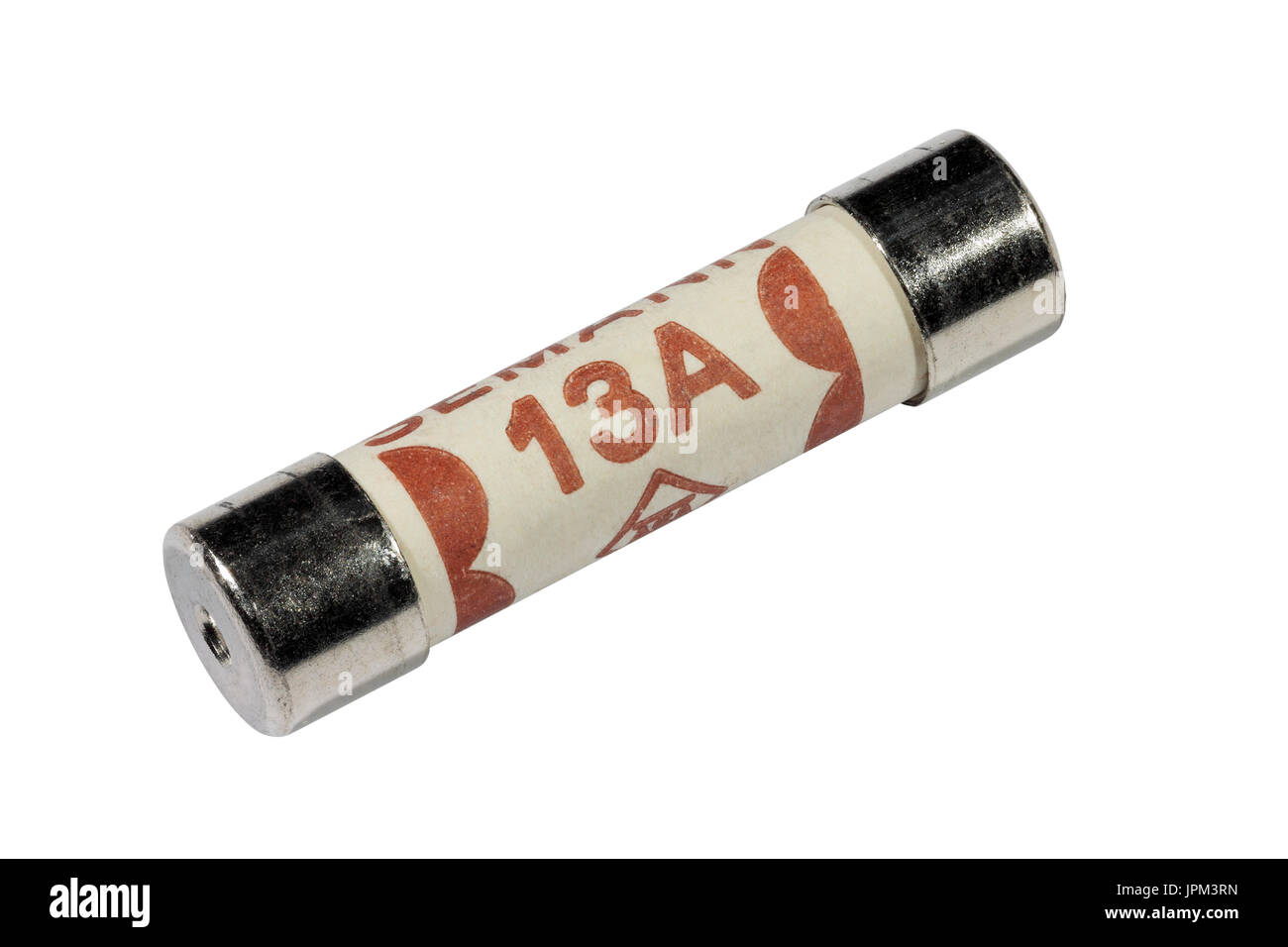 A 13 amp electrical fuse isolated on a white background - Stock Image