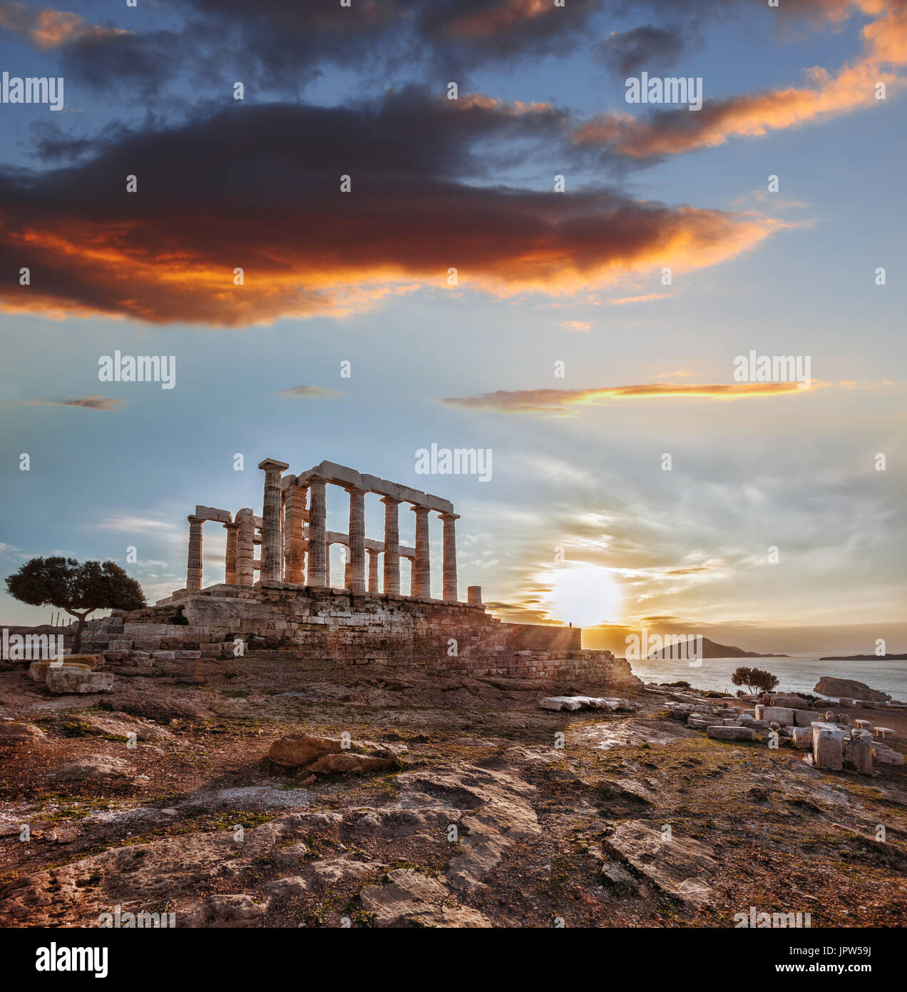 Greek temple Poseidon during spring time, Cape Sounion in Greece Stock Photo