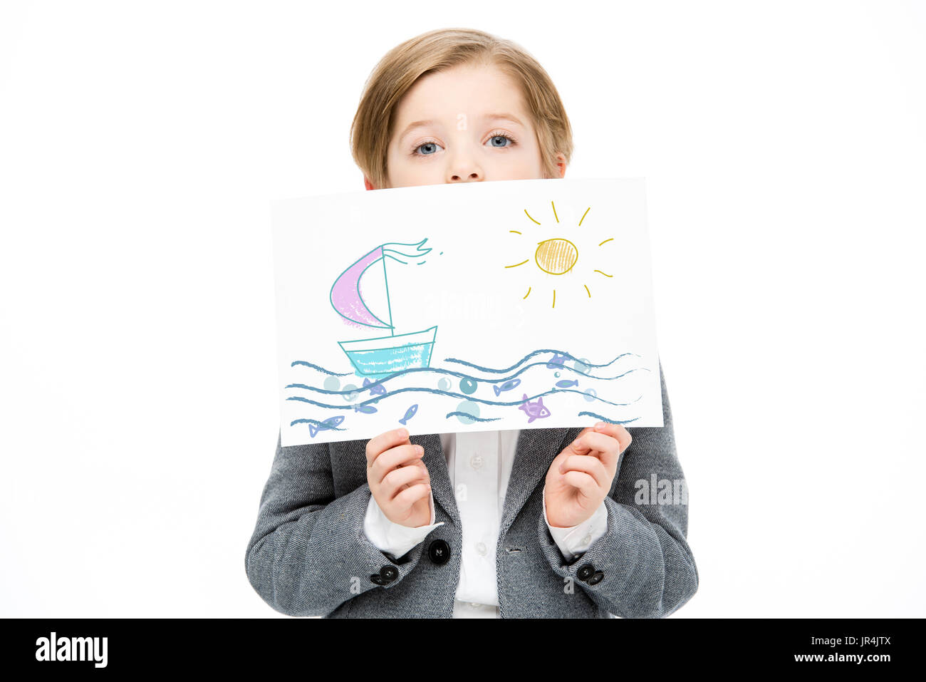 Small kid with painting - Stock Image