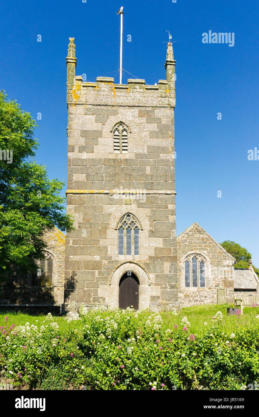 St Mellanus church, Mullion, Cornwall, UK - a Grade 1 Listed English church with Norman architecture, Romanesque - Stock Image