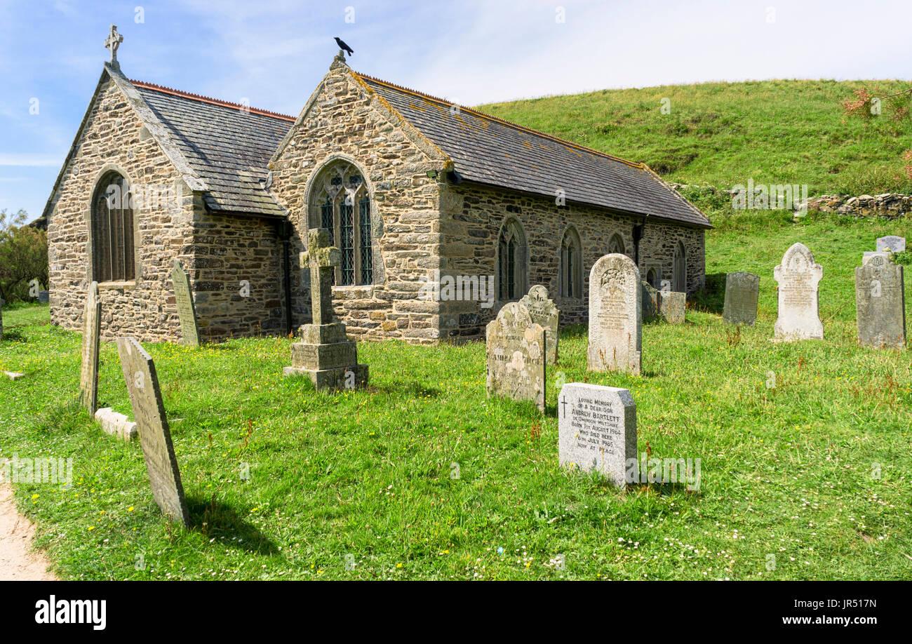 Gunwalloe Church of St Winwaloe, Lizard Peninsula, Cornwall, UK - Norman architecture - Stock Image