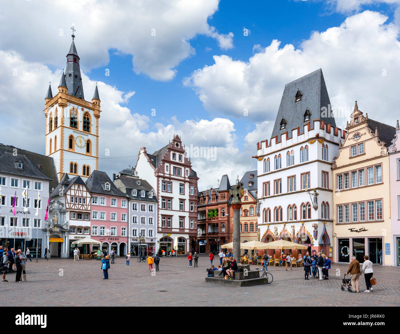 The Hauptmarkt in the old town, Trier, Rhineland-Palatinate, Germany Stock Photo