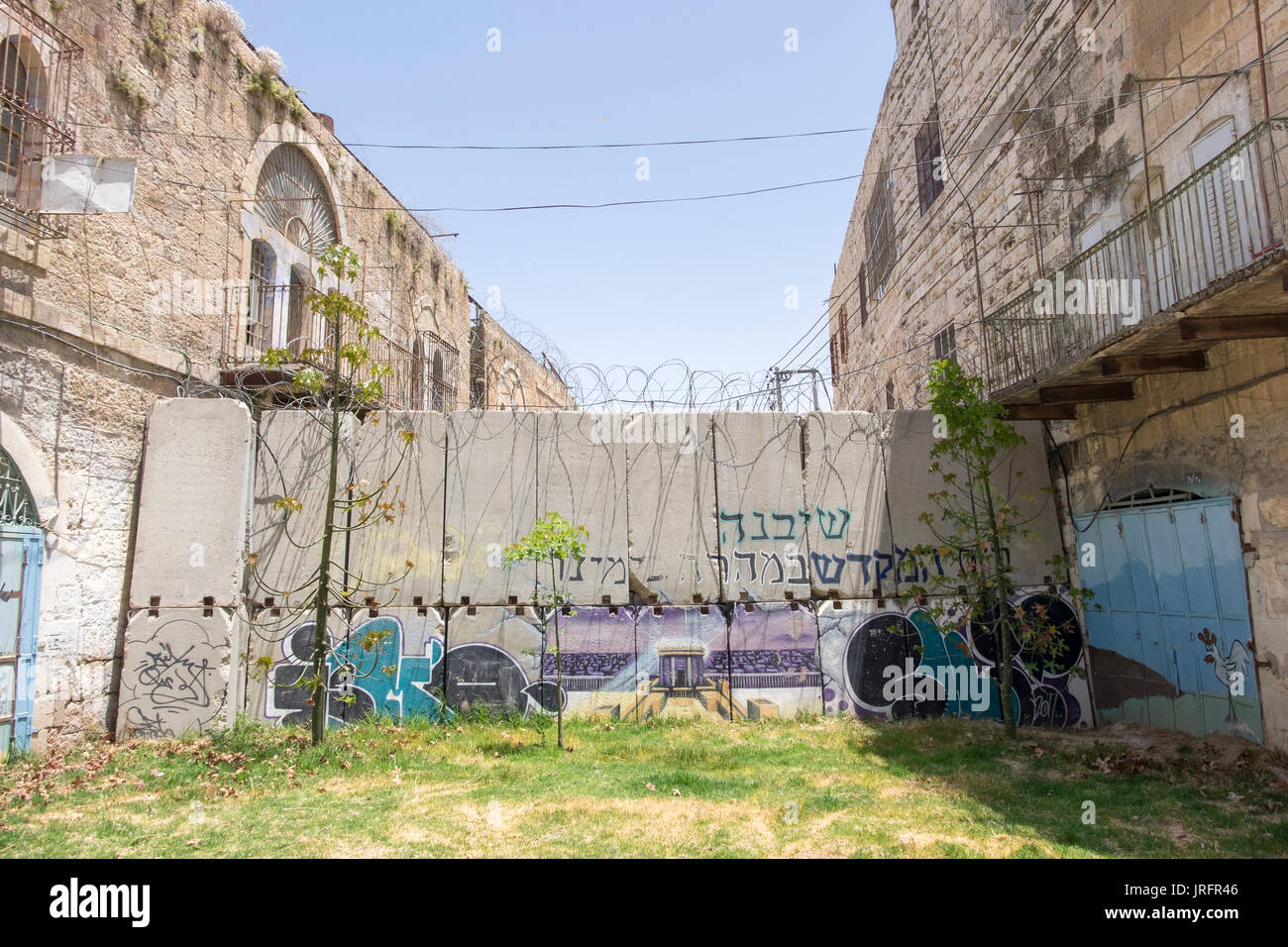 Deserted Shuhada Street, Hebron,West Bank, where Palestinians are banned due to the forceful occupation by 850 Israeli - Stock Image