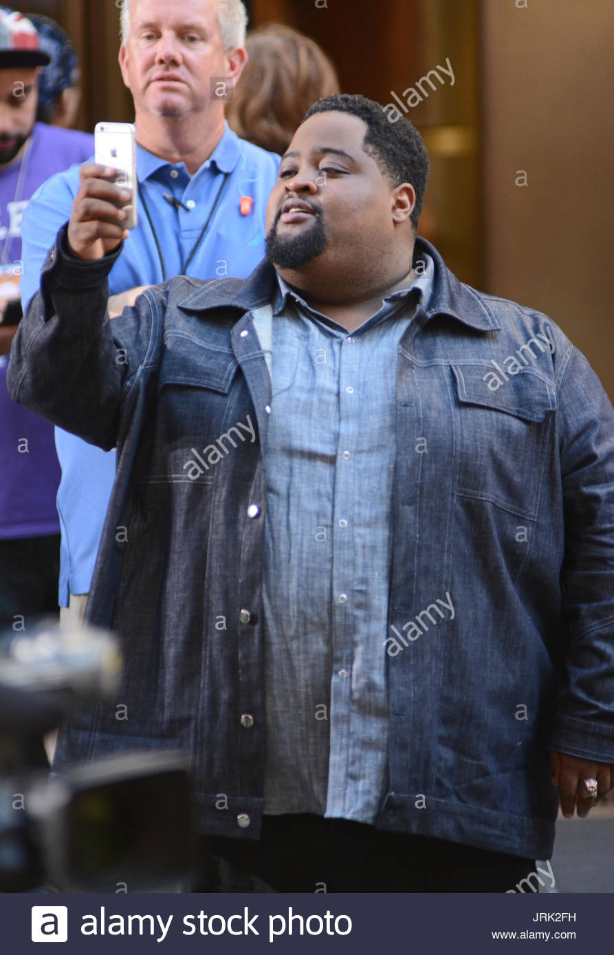 Gamal LunchMoney Lewis. Gamal LunchMoney Lewis performs on the Today Show, NYC - Stock Image