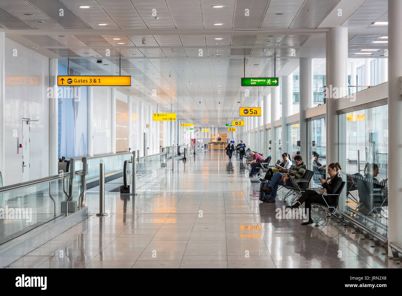 Departure gates, Heathrow terminal 5, London, UK - Stock Image