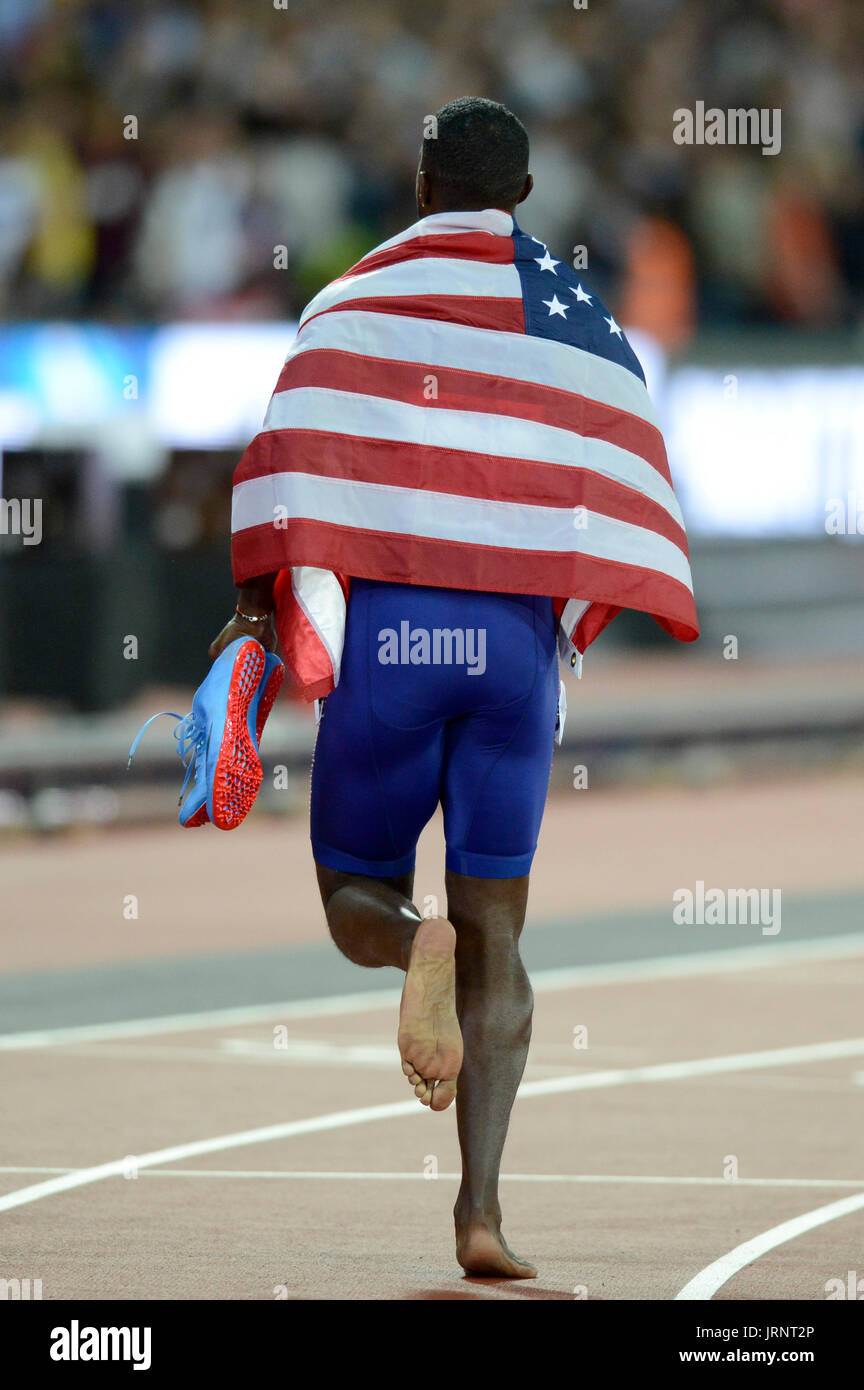 London, UK. 05th Aug, 2017. Justin Gatlin (USA) wins the competition over the favourite Usain Bolt (JAM) at the - Stock Image