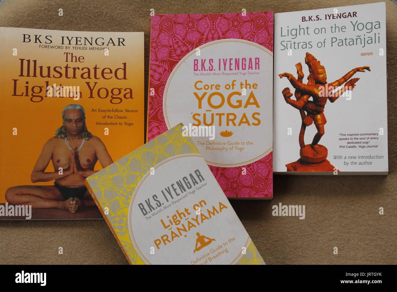 Yoga related books by late Shri B K S Iyengar, the founder of Iyengar Yoga - Stock Image