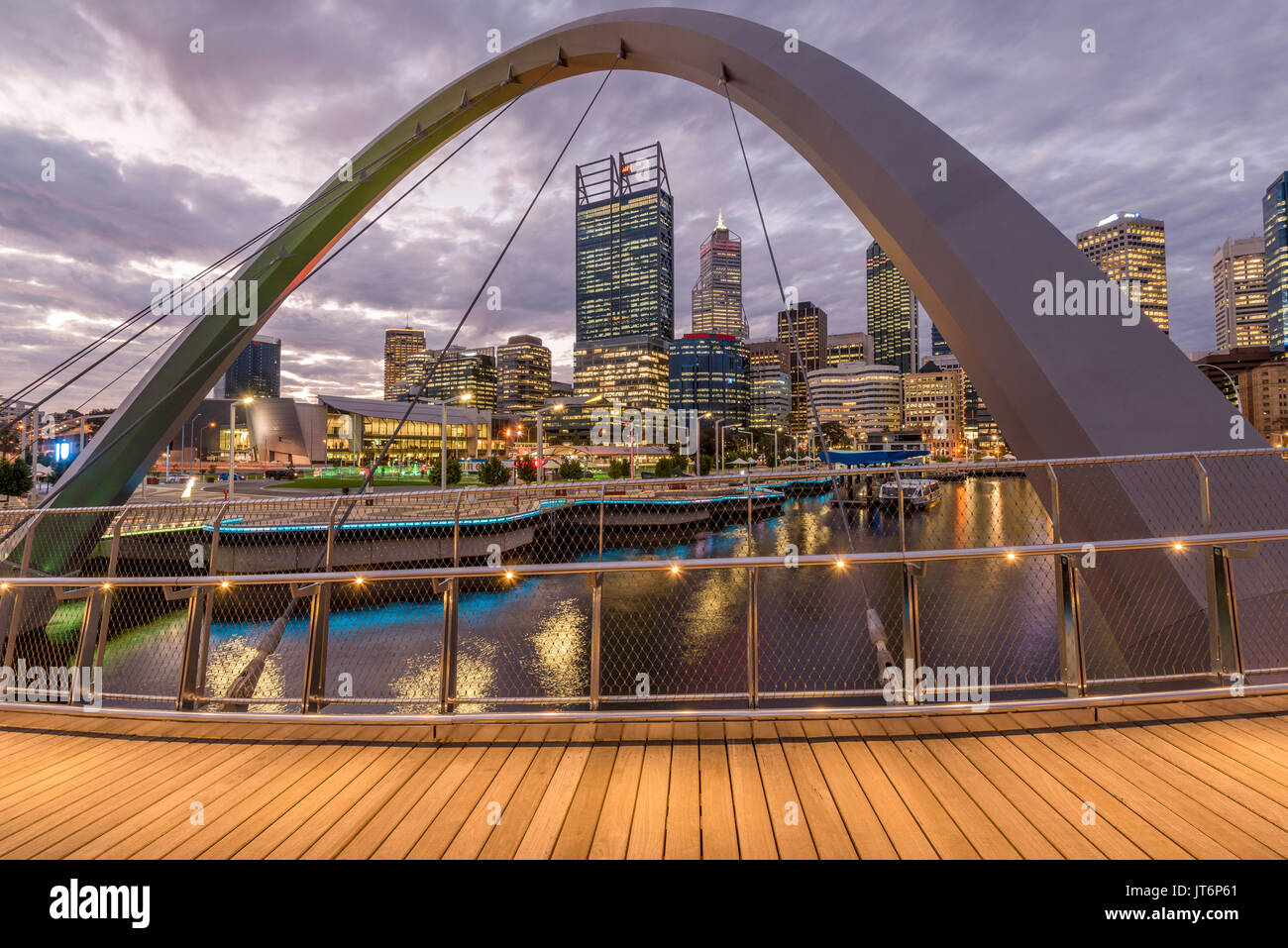 Elizabeth Bridge and Central Business District of Perth, Western Australia at sunsetStock Photo