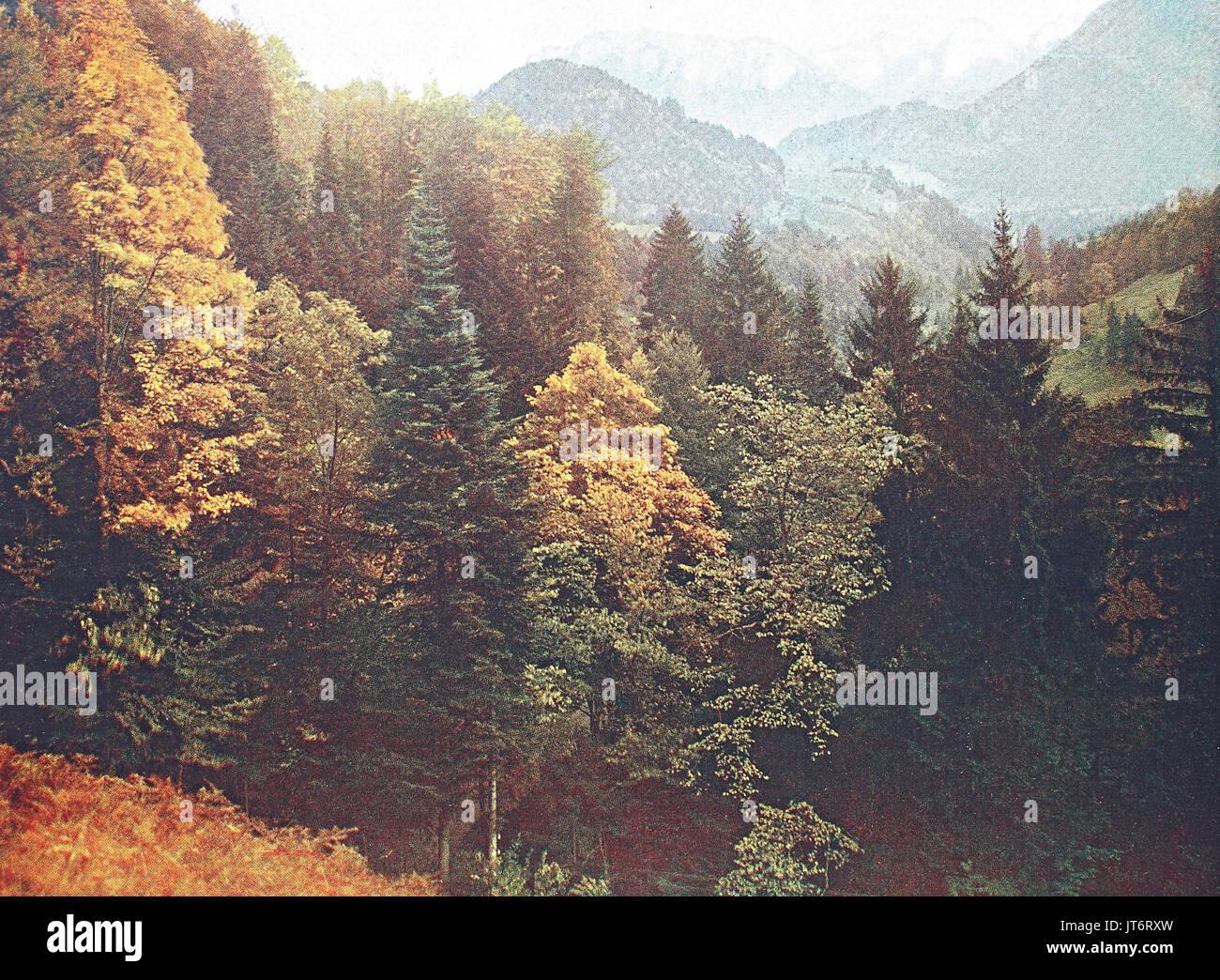 Historical photo of the alps region Tatzelwurm, Bavaria, Germany, Digital improved reproduction of an image published - Stock Image