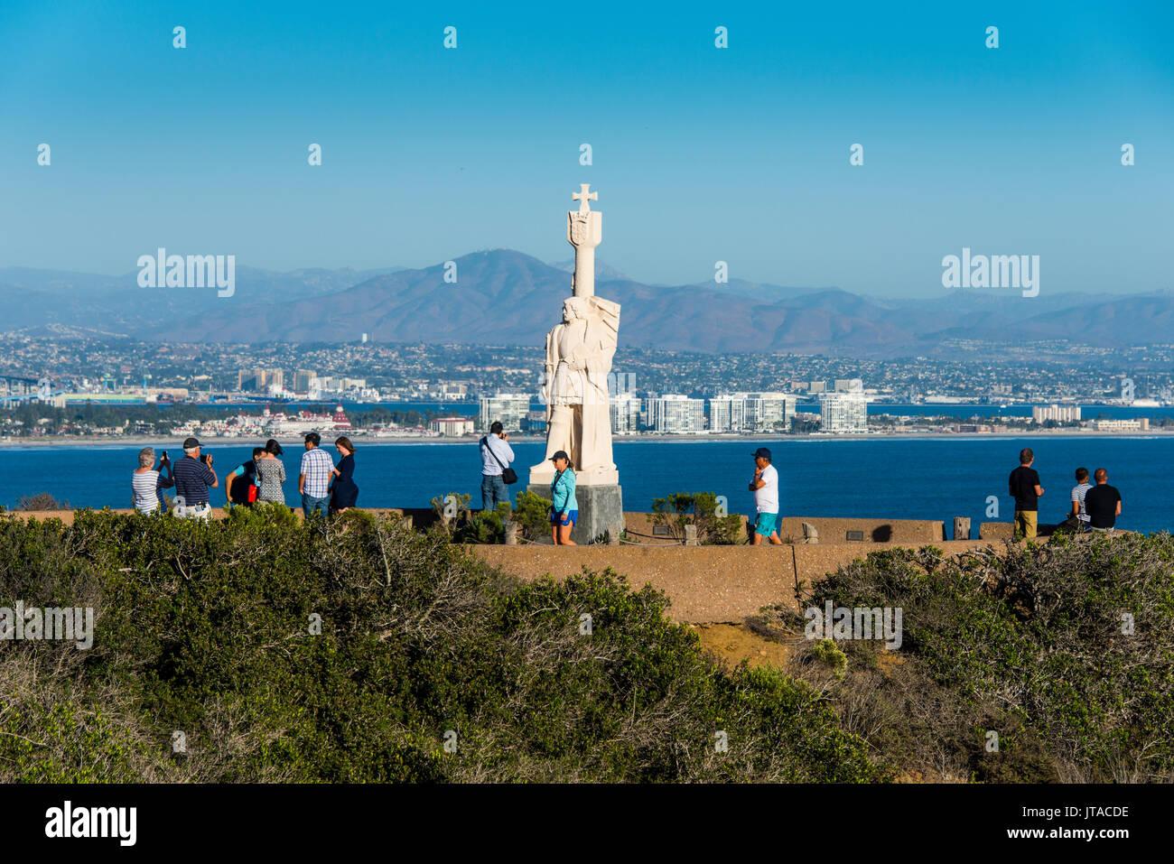 Cabrillo Statue, Cabrillo National Monument, Point Loma, San Diego, California, United States of America, North - Stock Image