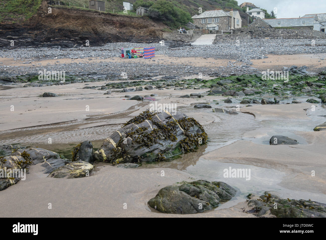 Beach and rock formations at Crackington Haven, Cornwall, England, United Kingdom. - Stock Image