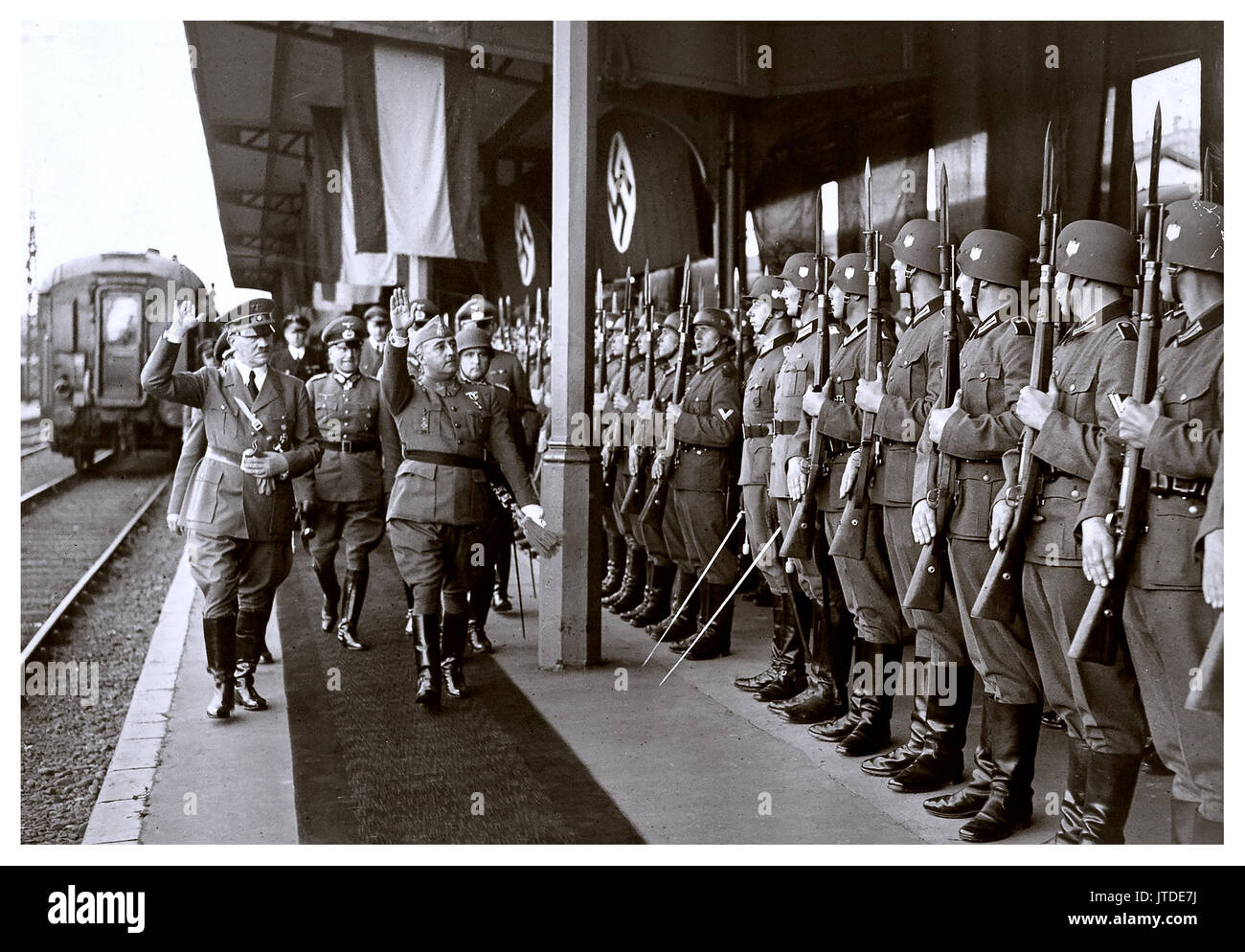Adolf Hitler and Francisco Franco of Spain meet in Gare d'Hendaye in occupied France, October 1940 to discuss possible Stock Photo