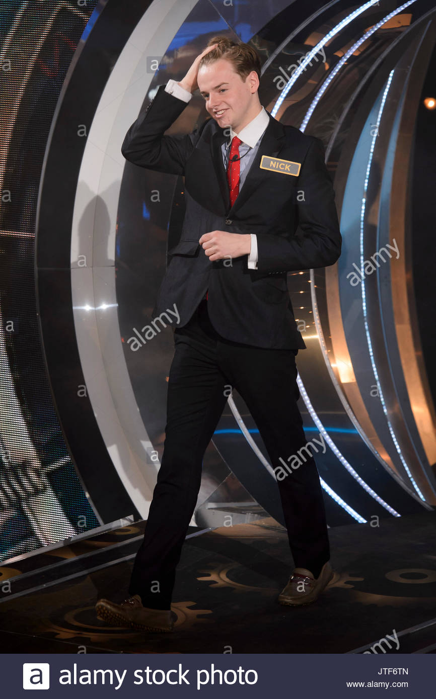 Nick Henderson. Contestants arrive for the 2015 series of Big Brother Timebomb - Stock Image