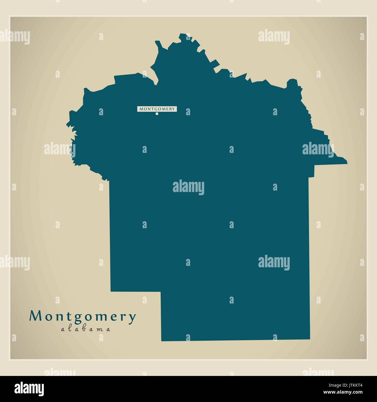Modern Map - Montgomery Alabama county USA illustration Stock Vector ...