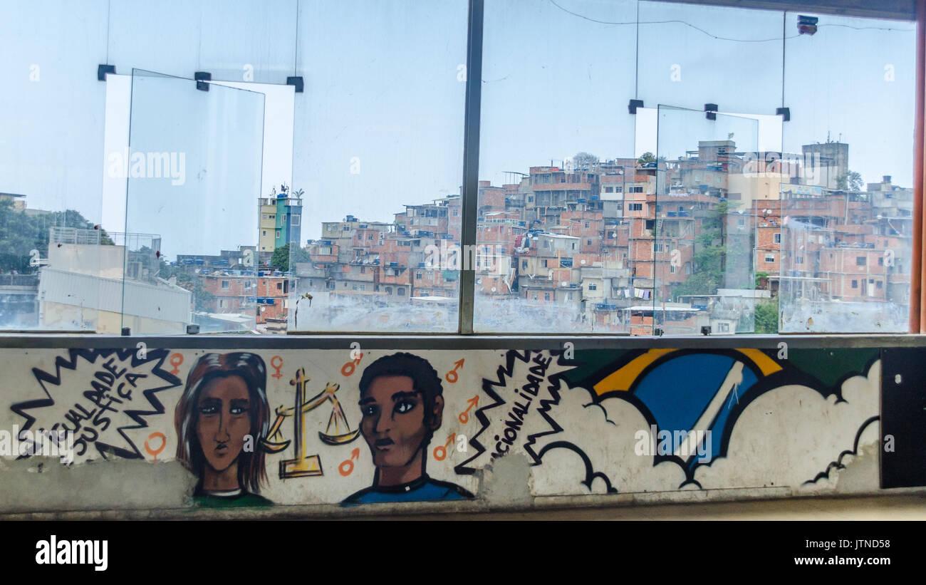 Graffiti overlooking Cantagalo favela in Rio de Janeiro, BrazilStock Photo