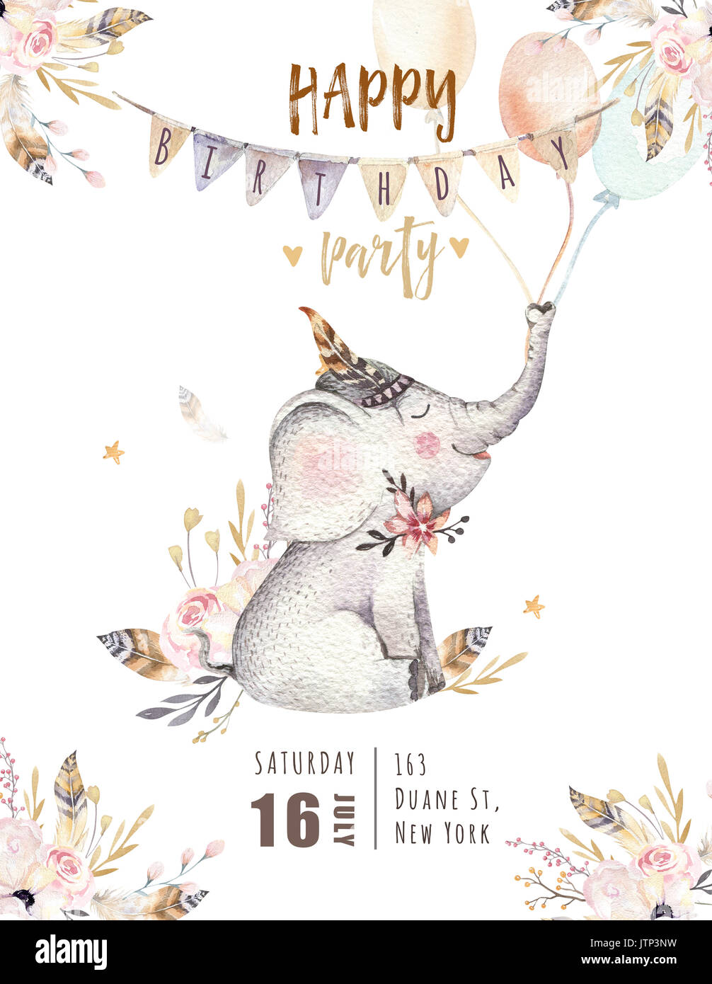 Bohemian Watercolor Boho Forest Elephant Family Drawing Watercolour Image Perfect For Nursery Posters Patterns Birthday Invitation