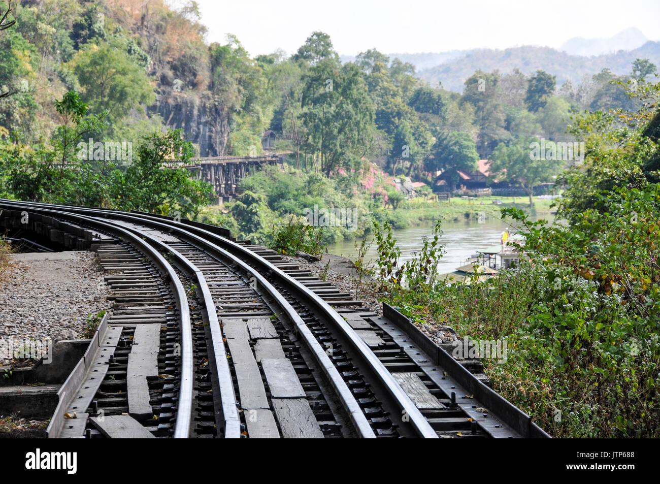 Portion of the Thailand-Burma Railway along the River Kwai, Thailand. Stock Photo