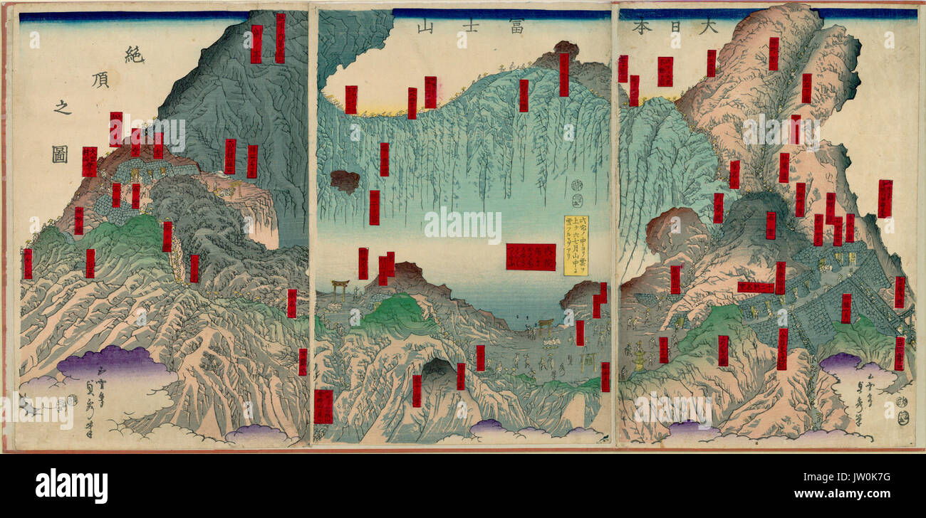 Panoramic View Of The Summit Of Mt Fuji Japanese Maps And Prints