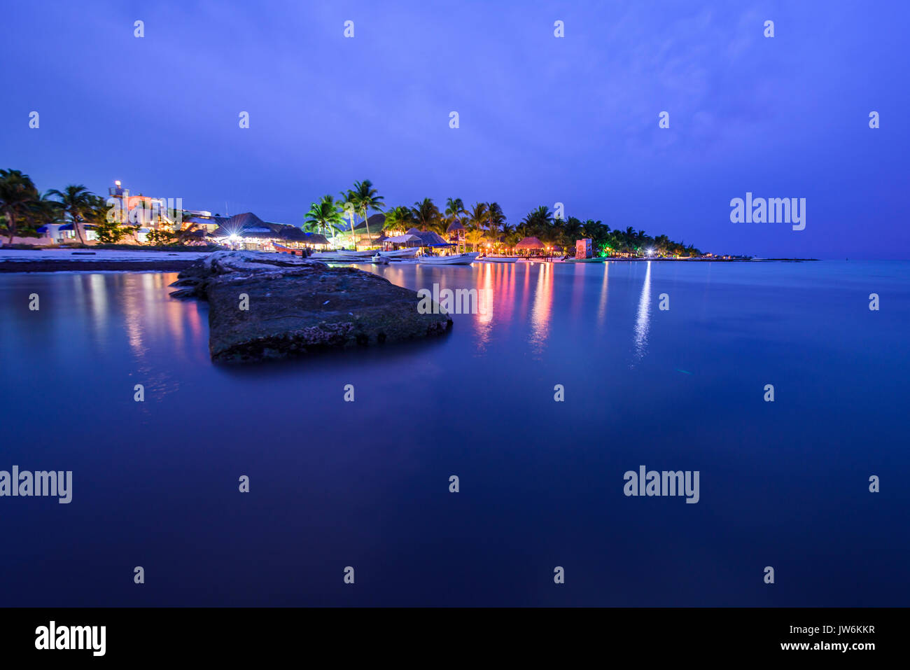 Dock in a beach of Isla Holbox at sunset, Quintana Roo (Mexico) Stock Photo