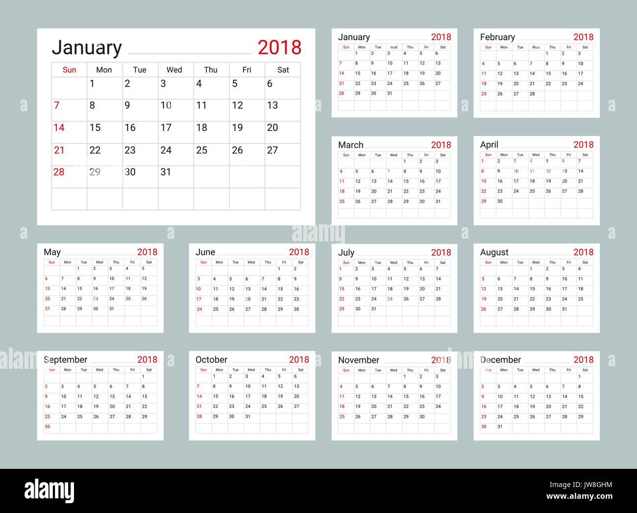 calendar 2018 daily planner template stock vector art illustration