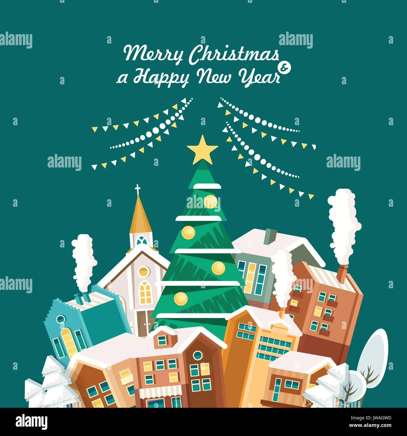 Merry Christmas And A Happy New Year Vector Greeting Card In Modern