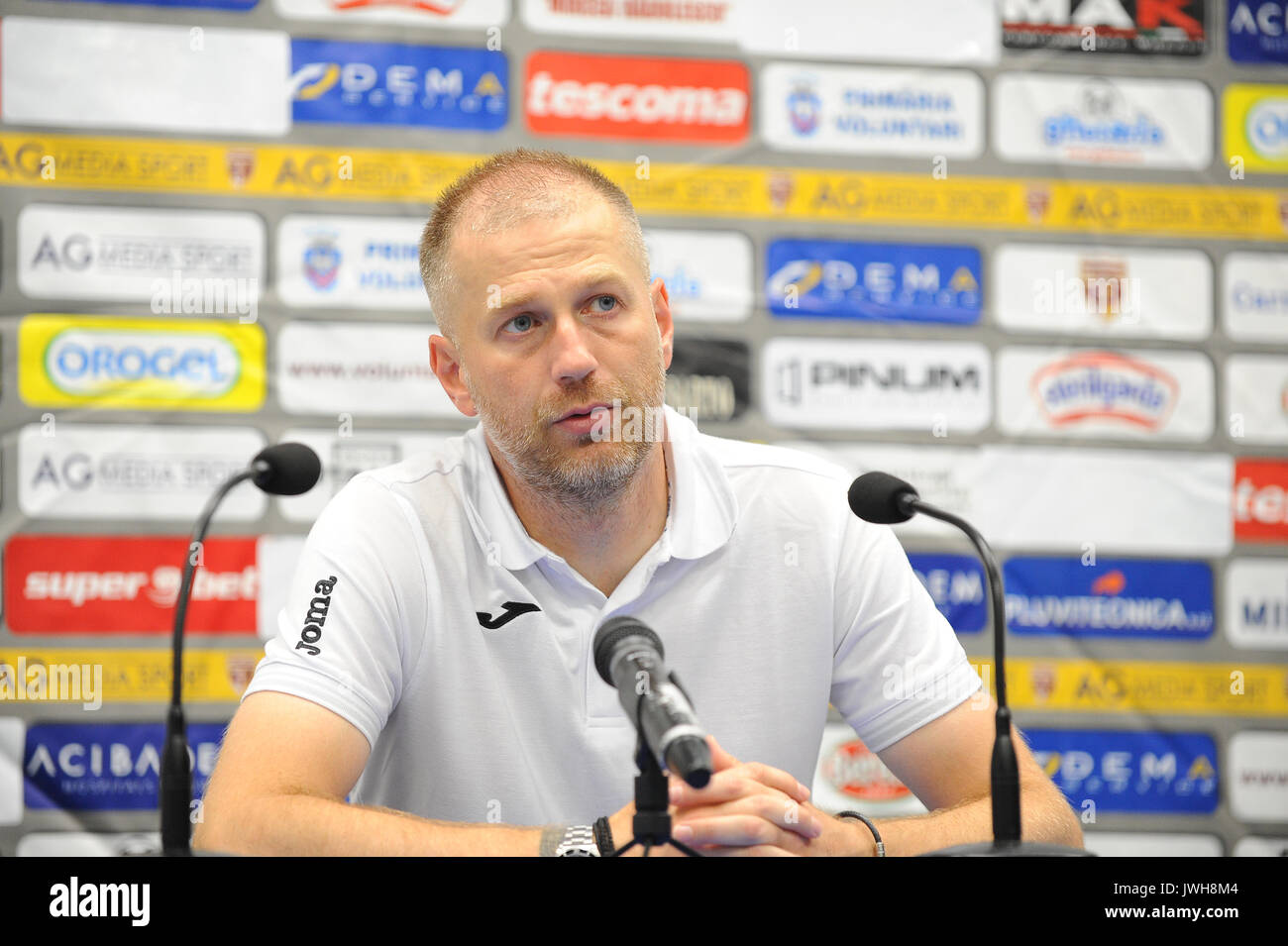 Edward Iordanescu, the head coach of FC Astra Giurgiu - Liga 1 (Romanian Football League One) game between FC Voluntari - Stock Image