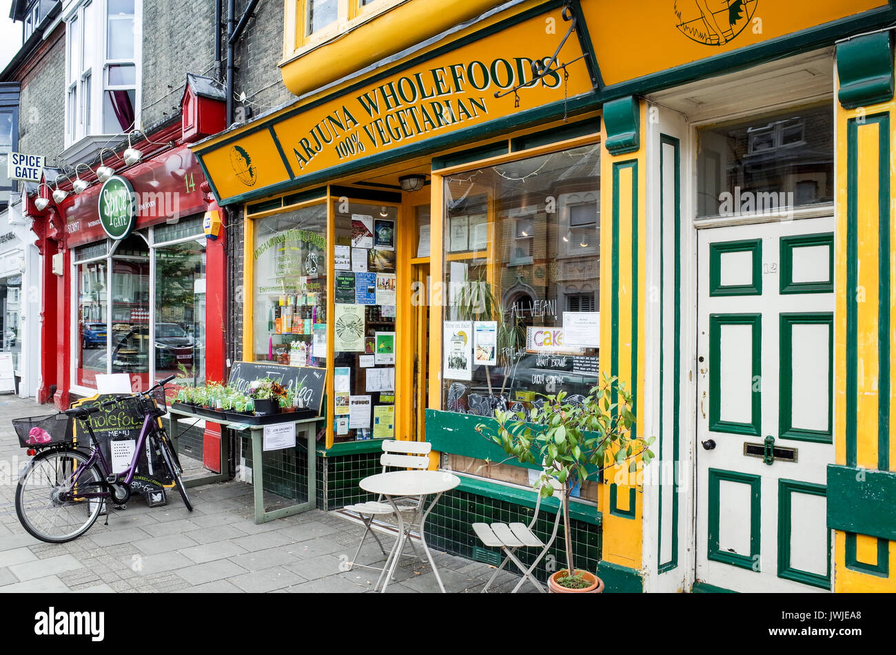 The Arjuna Wholefood Shop in Mill Road, Cambridge, an area of Independent Stores and Restaurants. - Stock Image