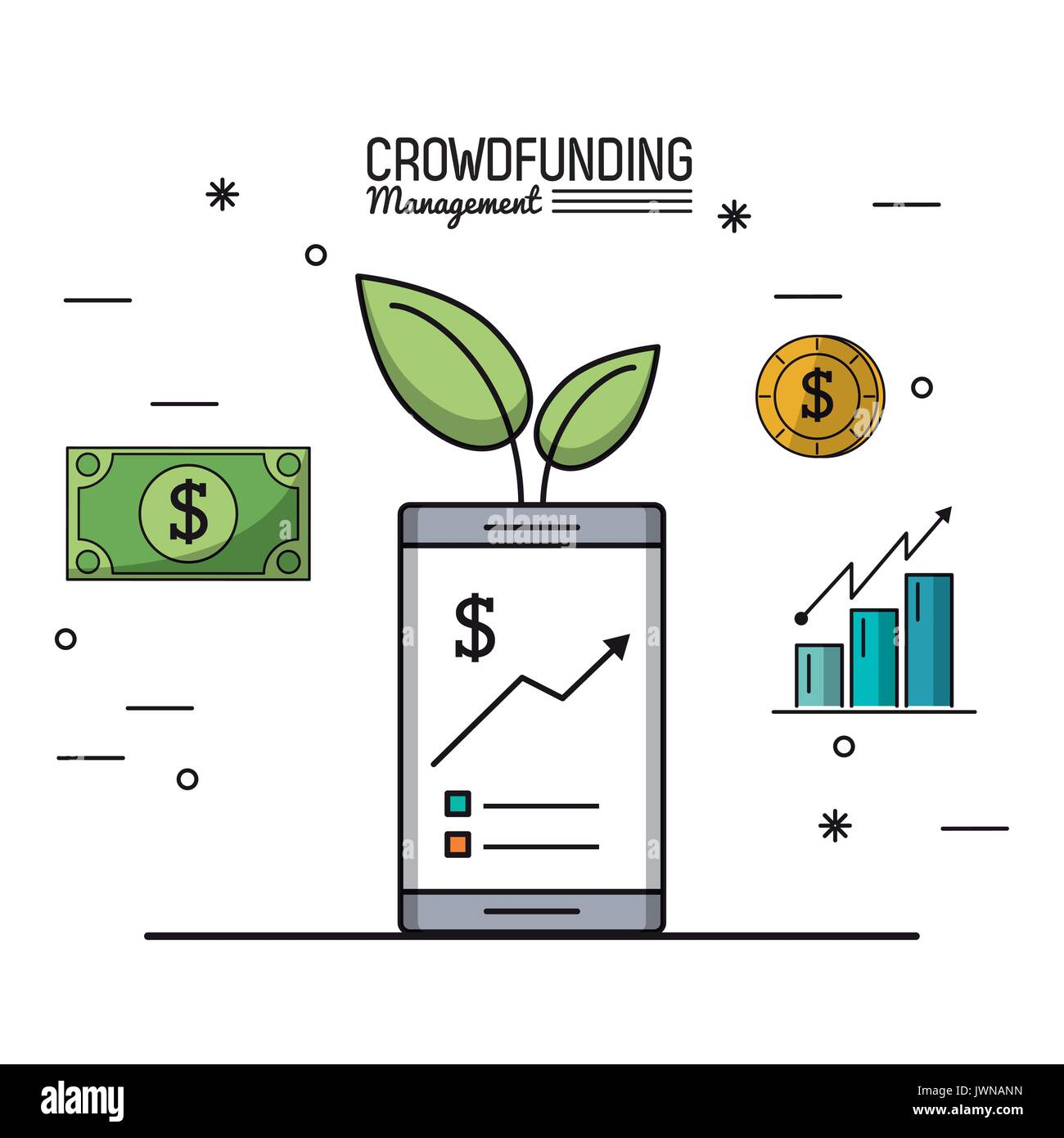colorful poster of crowd funding management with smartphone and economic growing graphs - Stock Image